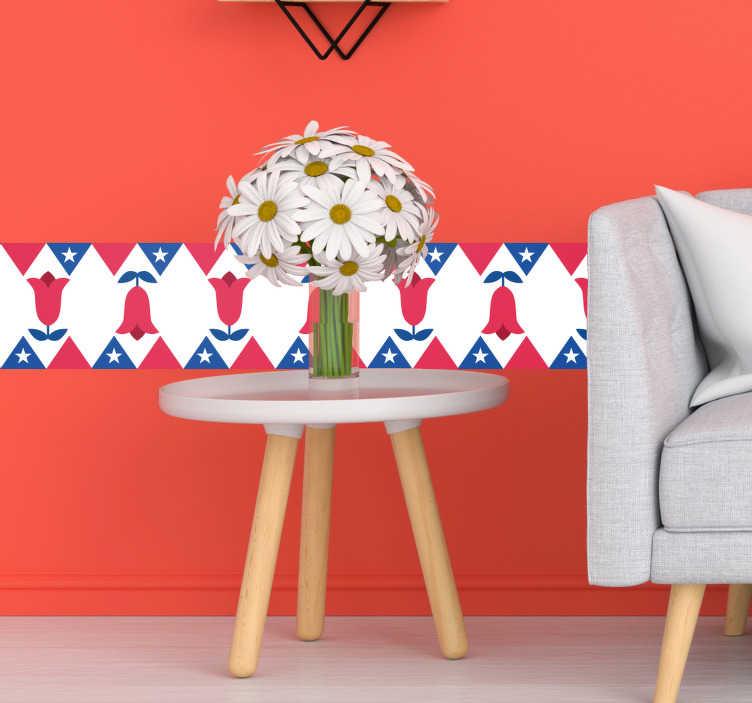 TenVinilo. Vinilo dormitorio copihue. Cenefa formada por una serie de copihues acompañados de varios detalles siguiente los colores de la bandera chilena. Descuentos para nuevos usuarios.