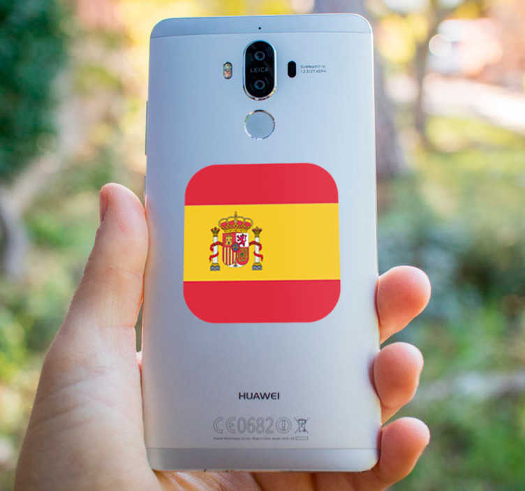 TenVinilo. Pegatina de la bandera de españa. Pegatina para Huawei con la bandera de España en formato cuadrado con los bordes redondeados. Vinilos Personalizados a medida de tu dispositivo móvil.