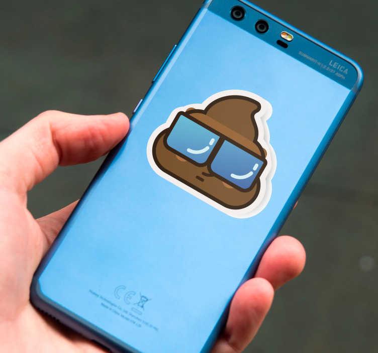 TenVinilo. Vinilo para negocio caca whatsapp. Pegatina para Huawei de uno de los emoticonos más utilizados, una caca con gafas de sol. Vinilos de gran calidad y durabilidad.
