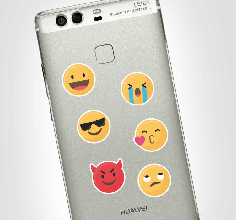 TenStickers. Emoji Set Huawei Phone Sticker. Add some emojis to your Huawei with this fantastic phone sticker, depicting a wide and fun selection of emojis! Extremely long-lasting material.