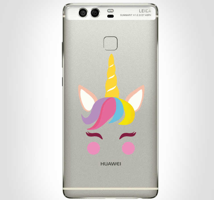 TenStickers. Unicorn Huawei Phone Sticker. Add an adorable unicorn to your phone with this fantastic Huawei phone sticker, depicting the gorgeous features of a unicorn!
