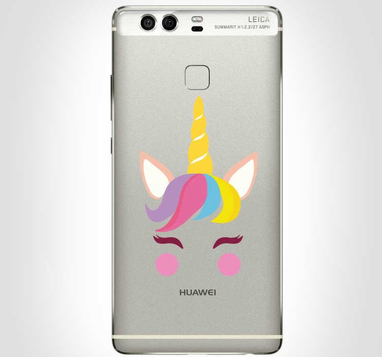 TenStickers. Schattige eenhoorn huawei sticker. Super eenhoorn mobiel sticker. Originele mobiel sticker en coole Huawei mobiel sticker. zoals de eenhoorn Huawei sticker en  eenhoorn Huawei stickers!