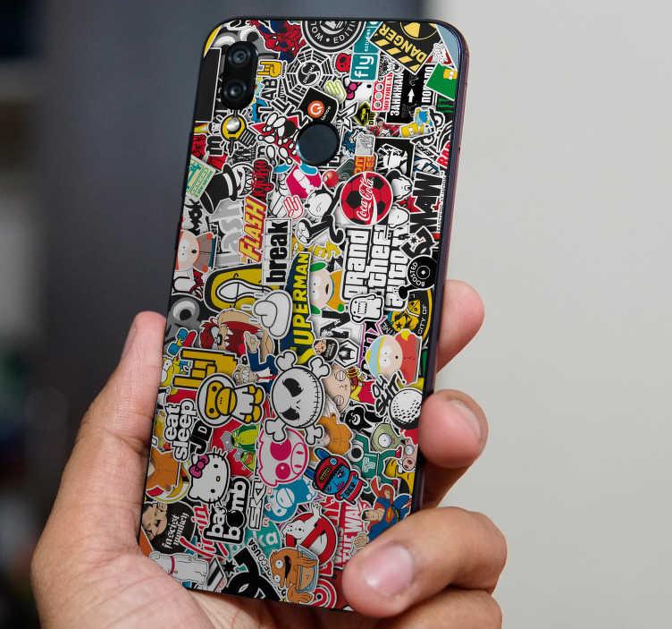 TenVinilo. Vinilo original stickerbomb. Sticker para Huawei formado por un conjunto de imágenes formando una bomba de pegatinas de distintos colores. Envío Express en 24/48h.