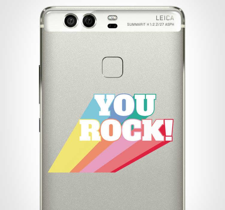 """TenStickers. Sticker Rock You Rock Coloré. Envie d'un adhésif rock désigné pour votre téléphone portable Huawei ? Cet autocollant musique """"you rock"""" sera parfait pour vous !"""