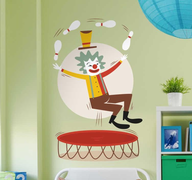 TenStickers. Clown vrolijk. Een vrolijke sticker van een vrolijk clown. Goed passend in een omgeving met kinderen. Denk aan scholen of de kamer van uw kind.