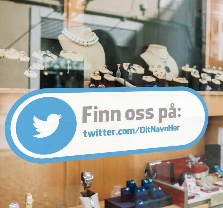 TenStickers. Find os twitter vindue klistermærke. Meget flot twitter vindue klistermærke til din butik eller restaurant. Få flere tilhængere med denne twitter shop vindue klistermærke! Cool twitter logo klistermærker!