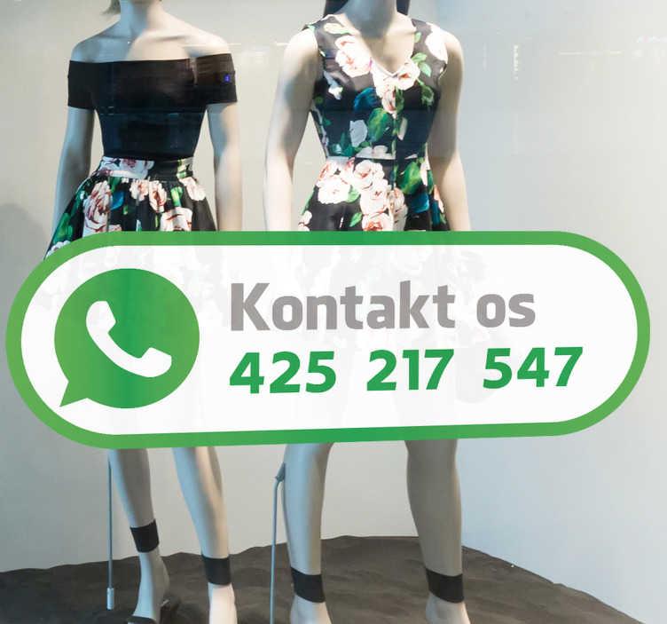 TenStickers. Whatsapp logo vindue klistermærke. Interessant whatsapp logo klistermærke til din butik eller restaurant vinduer! Lad dine kunder vide, at de altid kan kontakte dig! Whatsapp vindue klistermærke!