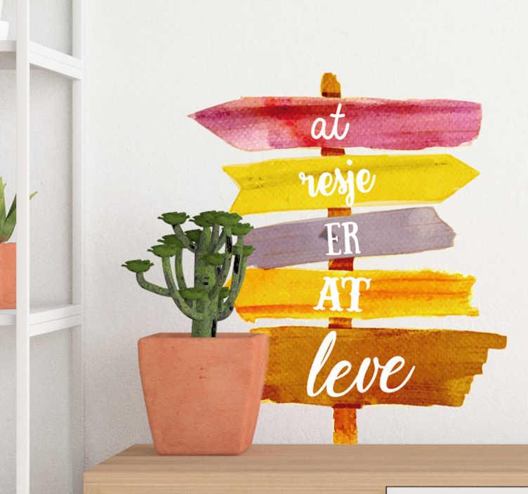 TenStickers. Rejser er levende stue væg indretning. Meget flot rejse væg klistermærke! Nyd denne rejse wallsticker! Dekorere dit værelse med interessante rejse klistermærker og eventyr klistermærker!