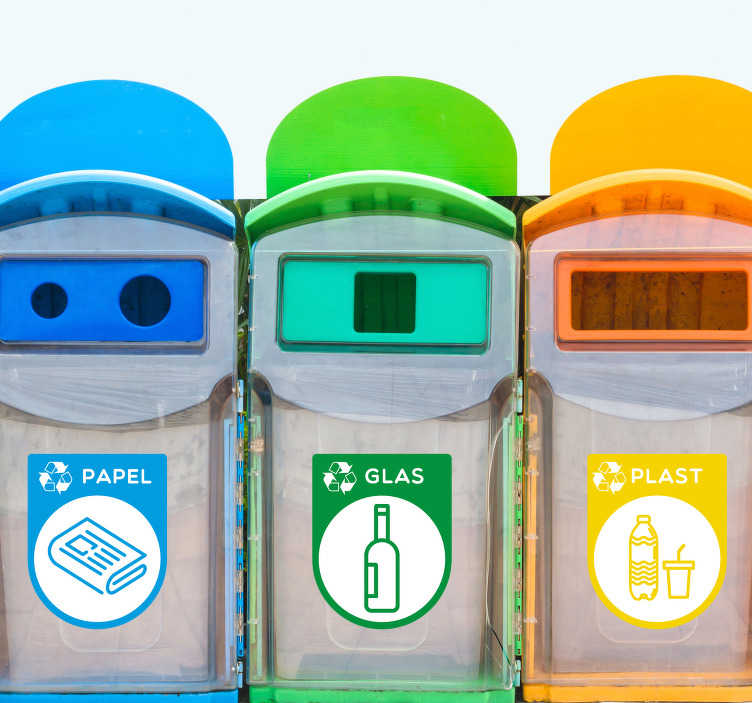 TenStickers. Genbrug beholder hjemmemur klistermærke. Recycling container klistermærker! Denne recycle klistermærke: et perfekt klistermærke til genbrug dit affald! Recycle container klistermærker og andre container klistermærker!