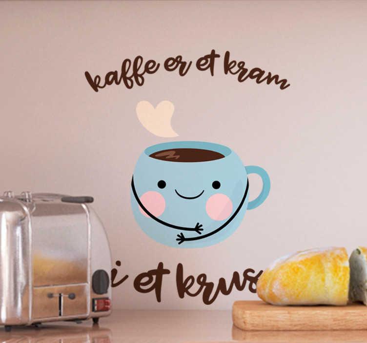 TenStickers. Kaffe smiley drikke klistermærke. En sød kaffe smiley sticker! Denne kaffe wallsticker er en perfekt til en restaurant, køkken eller spisestue! Nyd denne smiley wallsticker!