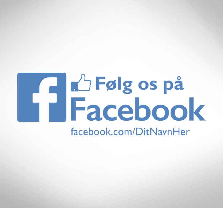 TenStickers. Følg os på facebook shop forretningsmærkat. Cool shop vindue facebook logo klistermærke, perfekt til din butik! Lad alle dine kunder vide om dig med facebook, følg os vinduesklistermærker!