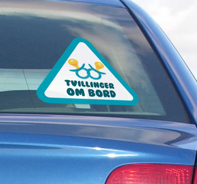 TenStickers. Baby tvillinger ombord køretøj klistermærke. Bil vindue klistermærke! Dette klistermærke er perfekt til dig! Nyd denne tvillinger ombord på bilsticket! Origional baby om bord klistermærker og bil tekst klistermærker!