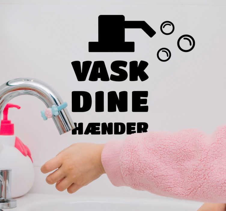 TenStickers. Rens din hænder tekst klistermærke. Takket være denne hjemmekontakt vil ingen i dit hus glemme at rense deres hænder: ideel til et sundt og rent liv. Vælg din størrelse.