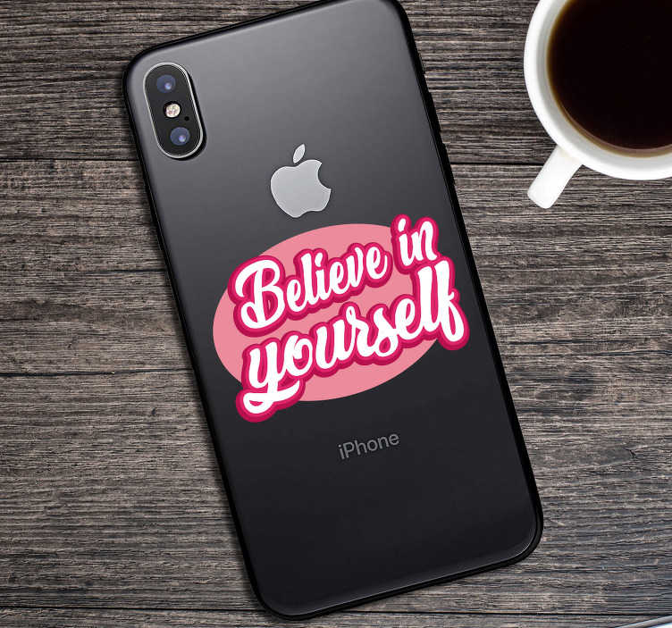 TenStickers. Motiverende tekst iPhone sticker. Tekst motivatie mobiel stickers: Interessante motiverende tekst iPhone sticker, iPhone inspirerende tekst stickers en iPhone motivatie tekst stickers!