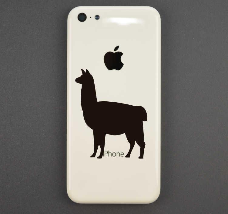 TenStickers. Stickers Animaux llama silhouette. Cet adhésif forme représente une silhouette de llama, idéal pour donner au dos de votre iPhone une touche unique et rigolote.