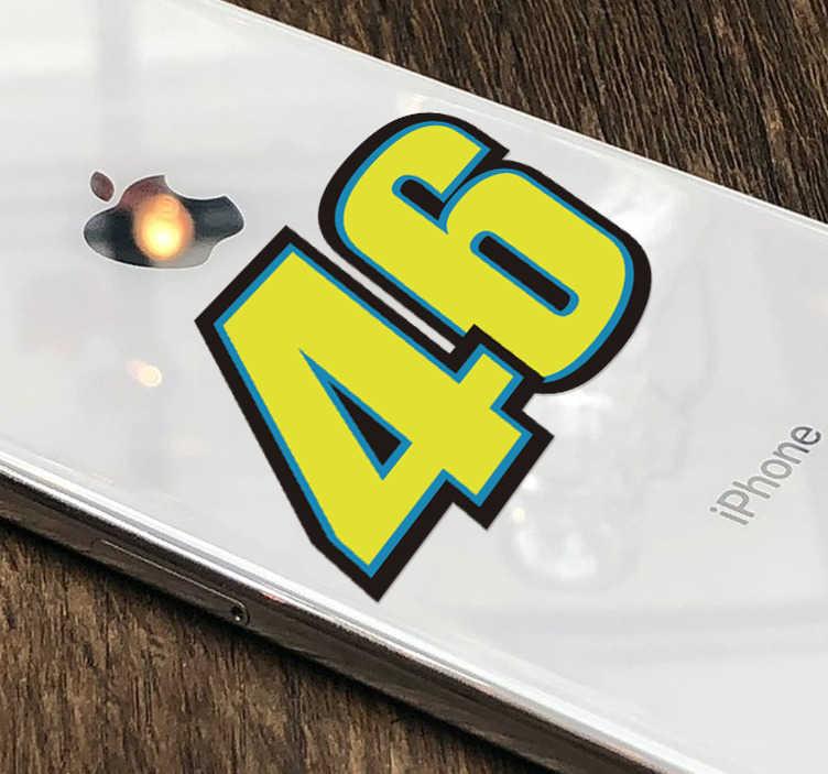 TenStickers. Rossi motor iPhone sticker. Leuke Rossi iPhone stickers en Rossi mobiel stickers met het geluksnummer 46. iPhone nummer stickers op maat! Geniet van motor iPhone stickers!