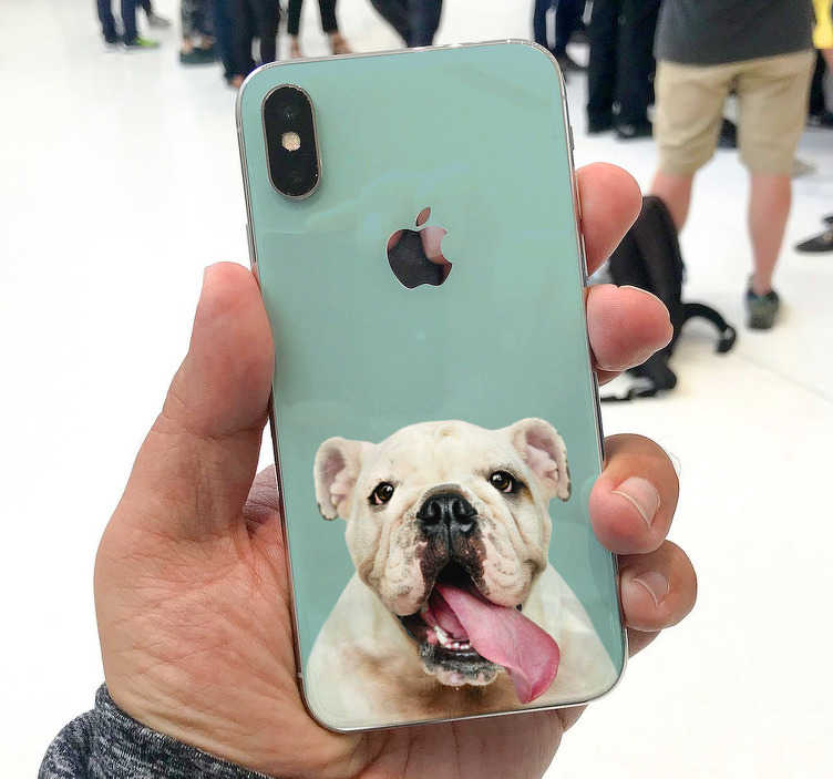 TenStickers. Funny bulldog hond iPhone sticker. Interessante hond iPhone stickers zoals klein hondje iphone sticker of een bulldog iphone sticker! Hond iPhone stickers en iPhone bulldog stickers!