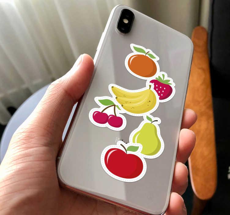 TenStickers. Sticker Fruits en dessins. Pour un adhésif déco coloré et original pour la coque de votre iPhone, rien de tel que ce set de stickers de fruits ! Service Client Rapide.