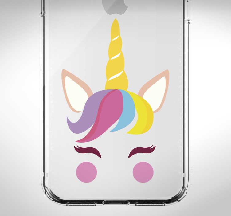 TenStickers. Stickers Dessin Joyeuse Licorne. Pour donner de la couleur et de la gaieté à la coque de votre téléphone iPhone, rien de tel qu'un sticker de licorne souriante !