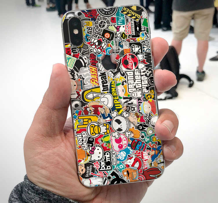 TenStickers. Bomb iPhone decal. Decorative sticker bomb for iPhone with multicolour urban style designs from graffiti, art, text, signage and more. Easy to apply.