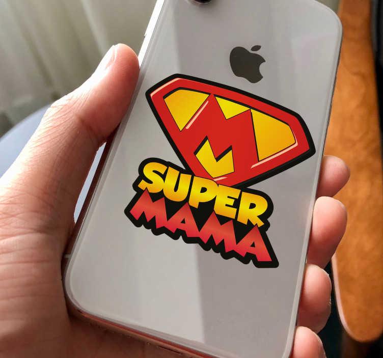 """TenVinilo. Vinilo iPhone frase supermama. Pegatina para la parte trasera de tu iPhone con el diseño del símbolo de Superaman acompañado del texto """"Super mama"""". +50 Colores Disponibles."""