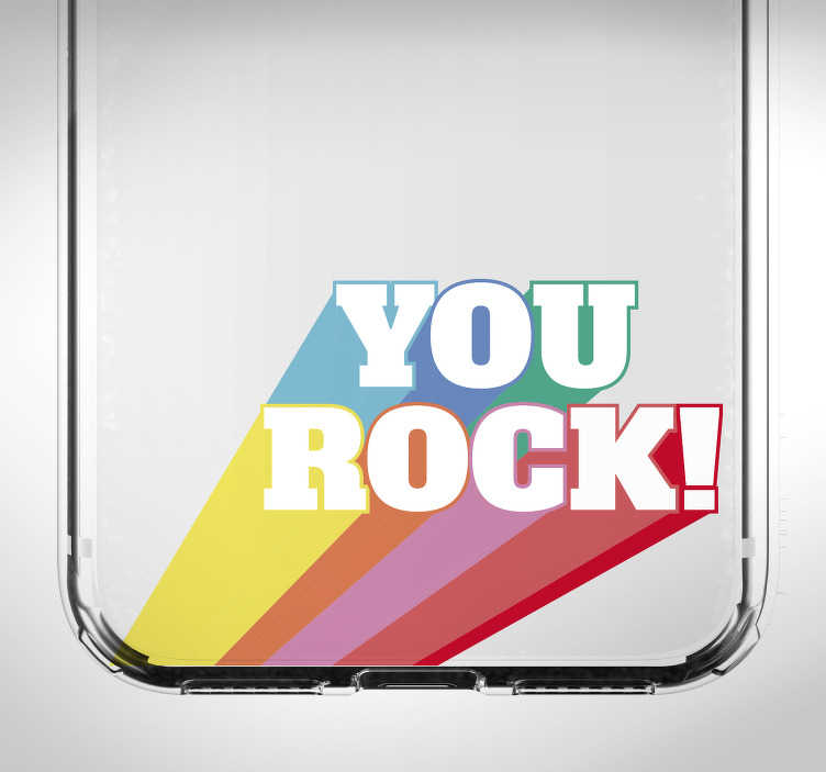 """TenStickers. Text Aufkleber Bunter You Rock iPhone. Ein bunter """"You Rock"""" Aufkleber der perfekt für Ihre Handyrückseite gemacht ist. Schauen Sie sich gleich mehrere Designs auf unserer Webseite an."""
