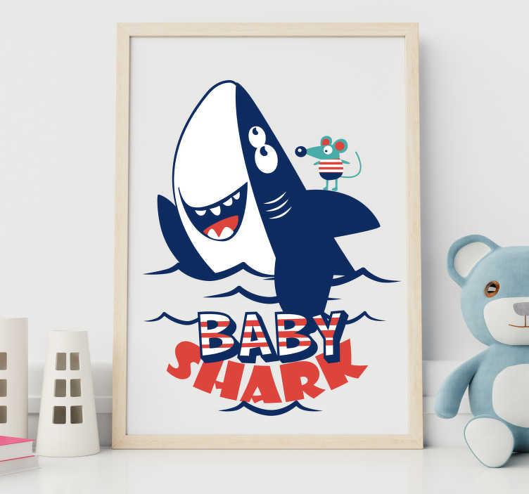 """TenVinilo. Vinilo infantil Baby shark. Pegatina para habitación infantil formada por el texto """"Baby Shark"""" acompañado del dibujo de un tiburón y un ratón. Fácil aplicación y sin burbujas."""