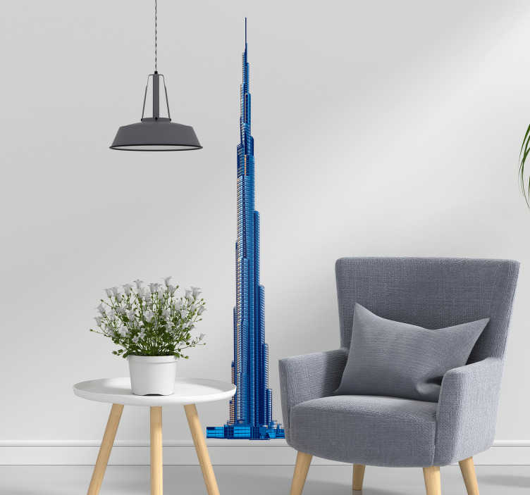 TenStickers. Burj Khalifa Silhouette Sticker. Pay tribute to the magic of the Burj Khalifa with this fantastic location wall sticker showing the magic of the United Arab Emirates!