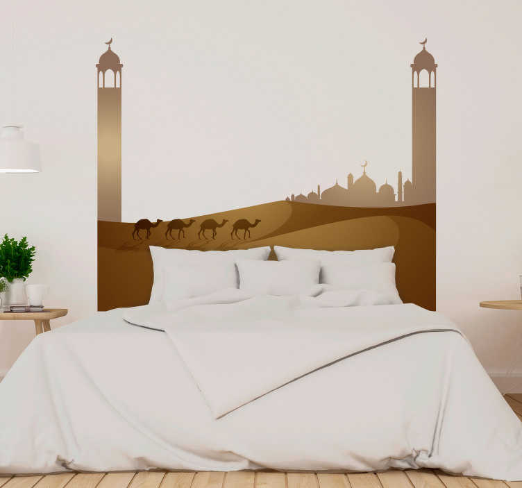 TenStickers. Islamic mosque and camels headboard wall sticker. Decorative headboard sticker with the design ofIslamic mosque and camels in the desert. Lovely design for the home and easy to apply.