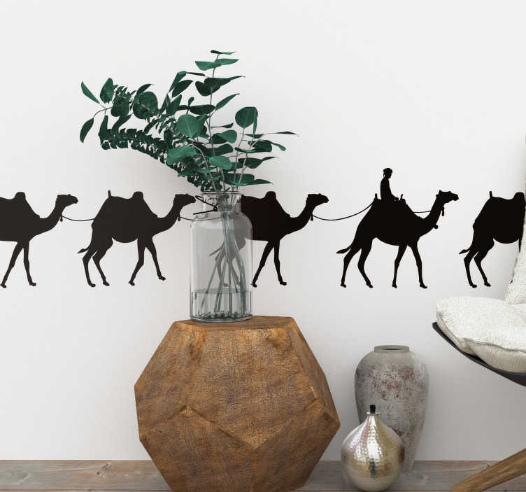 TenStickers. Camel Caravan animal wall sticker. Turn any room in your home into a desert oasis with this beautiful camel caravan silhouette wall sticker. Choose from over 50 colours!