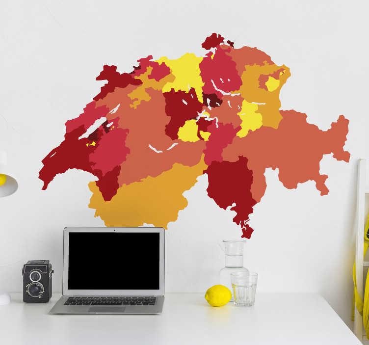 TenStickers. Wandtattoo Jugendzimmer Schweizer Kantone Karte. Bei 26 Kantonen in der Schweiz kann man leicht den Überblick verlieren, deshalb haben wir ein passendes Wandtattoo für Sie.