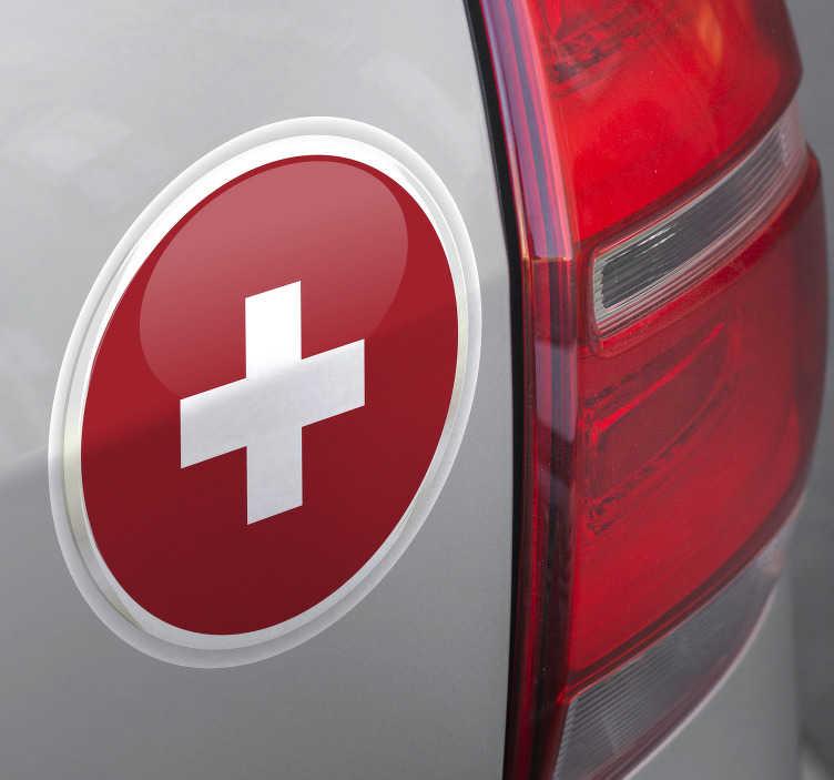 TenStickers. Motorrad Aufkleber Schweizer Flagge Logo. Sie möchten einen neuen Aufkleber für Ihr Fahrzeug? Allerdings möchten Sie keinen großen Welt Aufkleber, sondern eher etwas kleineres personelles?
