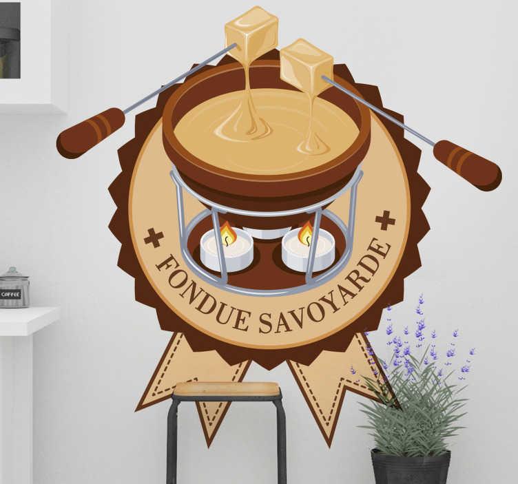TenStickers. Sticker Entreprise La Fondue Savoyarde. Pour un restaurant d'entreprise ou pour un autocollant cuisine, ce design de dessin de fondue savoyarde sera idéal pour tous les gourmands.