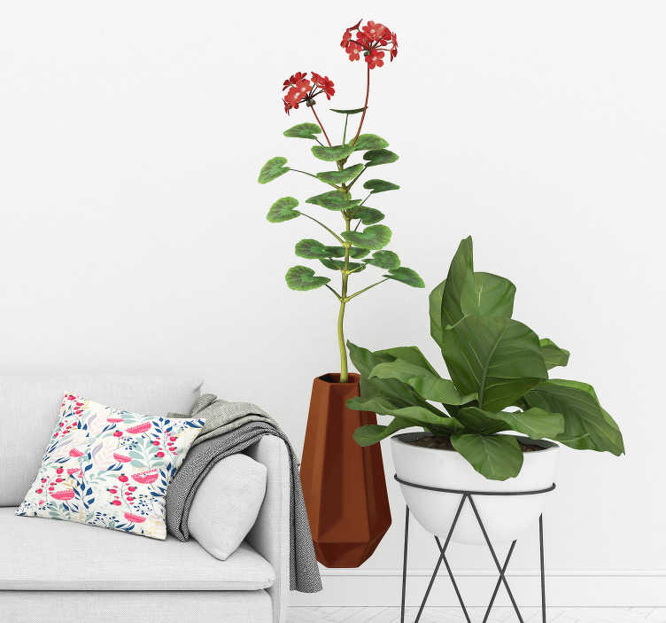 TenStickers. Vase with geranium plant wall decal. Decorative home wall sticker with the design of garaniun plant in a flower vase. Buy it in nay size needed. Easy to apply.