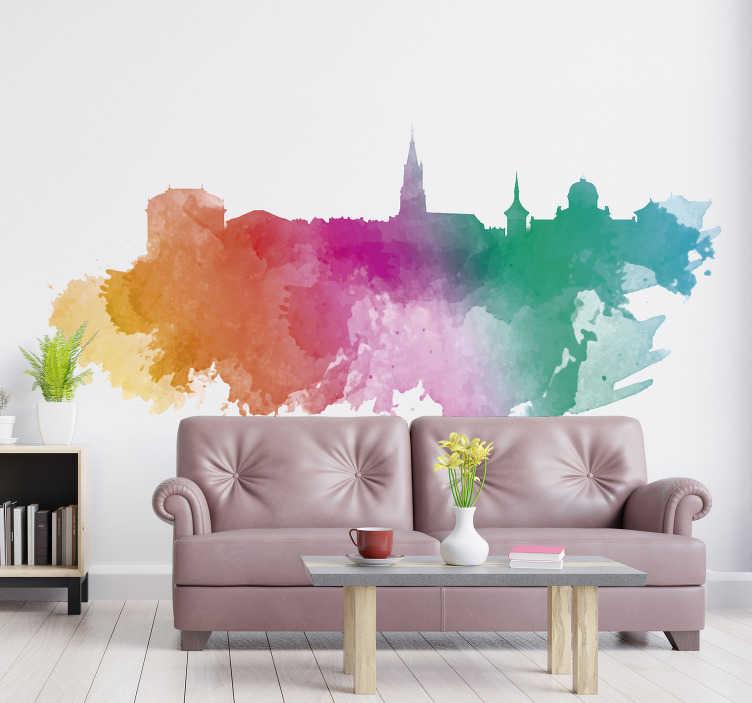 TenStickers. Wandtattoo Wohnzimmer Bern Regenbogen. Wir präsentieren Ihnen eine Skyline von Bern und zwar in Regenbogen Farben. Für weitere tolle Wandtattoos können Sie unsere Kollektion anschauen.
