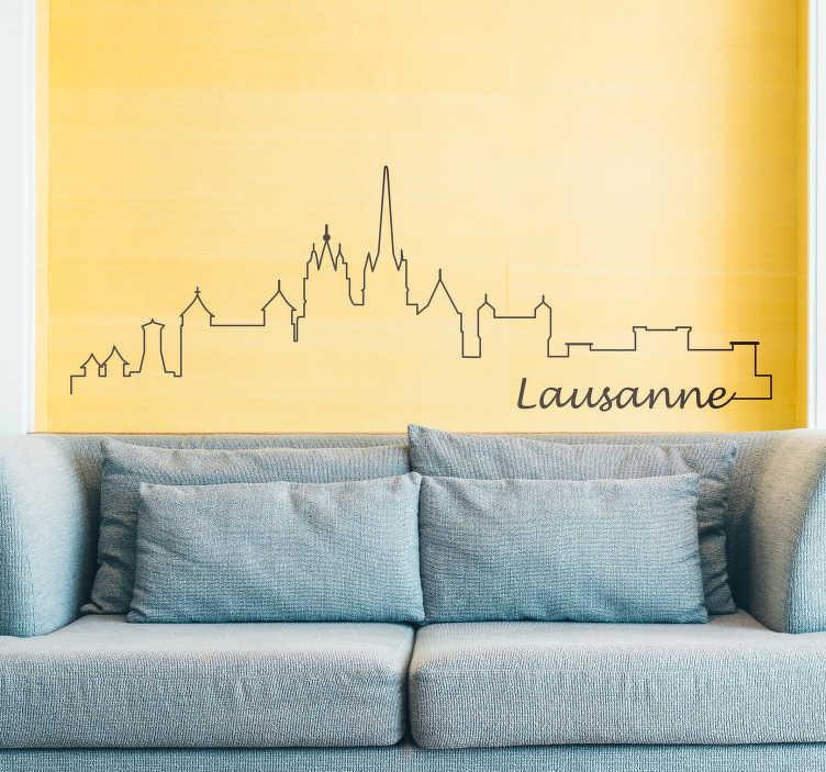 TenStickers. Wandtattoo Skyline Lausanne. Sie sind auf der Suche nach einem passenden Wandtattoo für Ihr Wohnzimmer? Wieso dann nicht die wunderschöne Skyline von Lausanne?