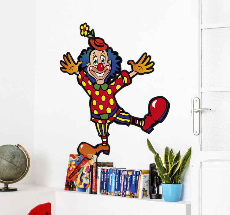 TenStickers. Naklejka dla dzieci klaun 5. Naklejka na ścianę z kolekcji inspirowanej cyrkiem. Obrazek przedstawia śmiesznego klauna w oryginalnym stroju oraz w dużych, czerwonych butach.