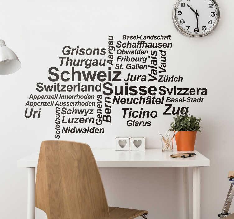 TenStickers. Wandtattoo Jugendzimmer Schweiz Provinzen. Sie sind auf der Suche nach einem passenden schweizer Wandtattoo? Dann bieten wir Ihnen ein Wandtattoo dass die schweizer Provinzen präsentiert.