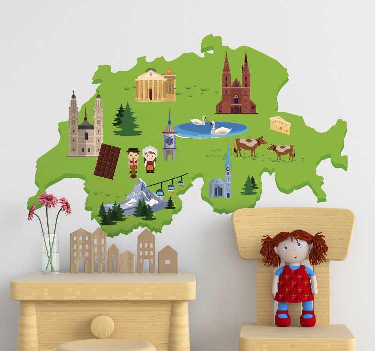 TenStickers. Wandtattoo für Zuhause Karte mit Wahrzeichen. Mögen Sie die Schweiz? Dann kleben Sie dieses Wandtattoo an Ihre Wand! Der schweizer Sticker zeigt alle wichtigen Merkmale.