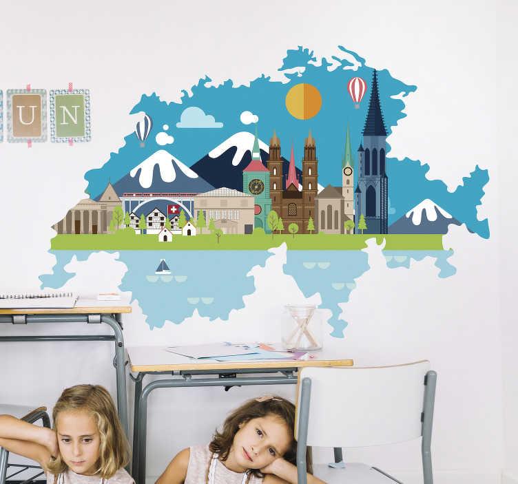 TenStickers. Wandtattoo für Zuhause Schweiz Landschaft. Schauen Sie sich jetzt unser neues schweizer Wandtattoo an, dass mit den Merkmalen perfekt für jedes Kinderzimmer geeignet ist.