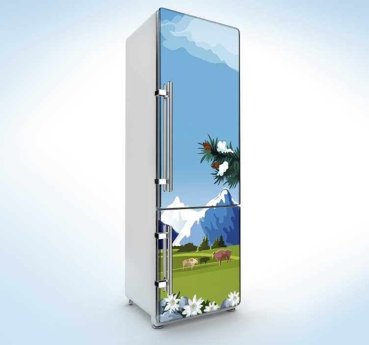 TenStickers. Wandtattoo für Zuhause Schweiz Ausblick. Möchten Sie Ihren Kühlschrank auf witzige Weise neu designen? Dann probieren Sie einen unserer lustigen Kühlschrank Aufkleber aus.