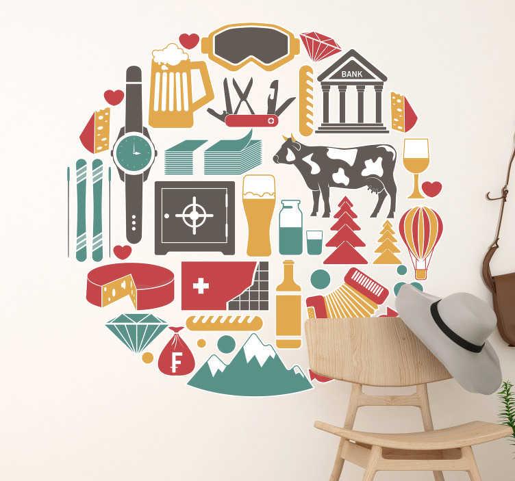 TenStickers. Wandtattoo Schlafzimmer Schweizer Logo Merkmale. Möchten Sie gerne Ihre Wand mit einem Wandtattoo gestalten, mit dem Sie sich verbunden fühlen? Dann präsentieren wir die Schweizer Merkmale als Logos.