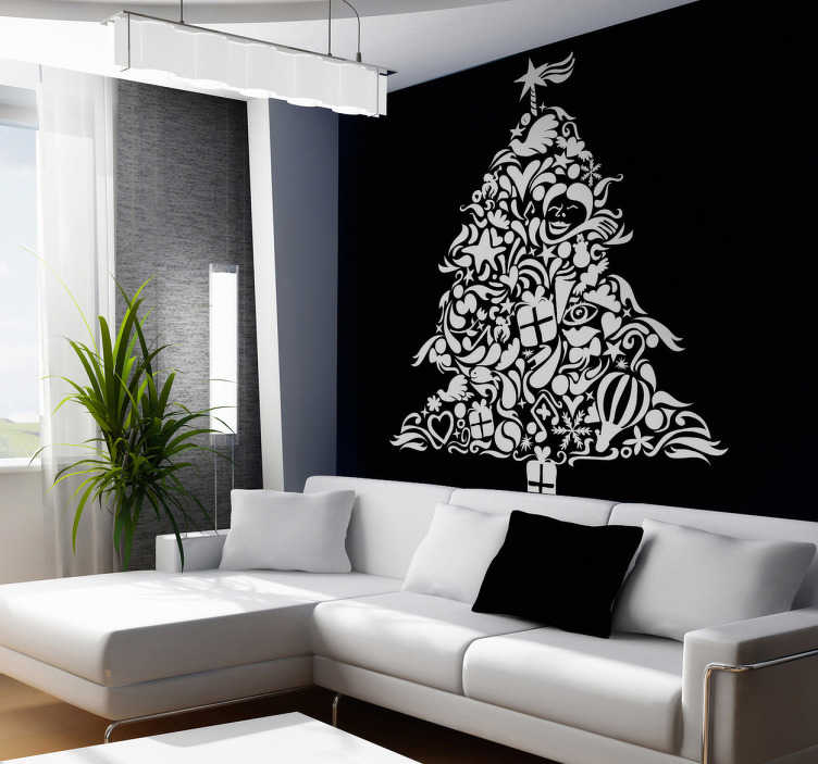TenStickers. Naklejka drzewko świąteczne. Naklejka dekoracyjna przedstawiająca oryginalne drzewko świąteczne, zawierające elementy takie jak serduszka, prezenty, gwiazdy, itp.