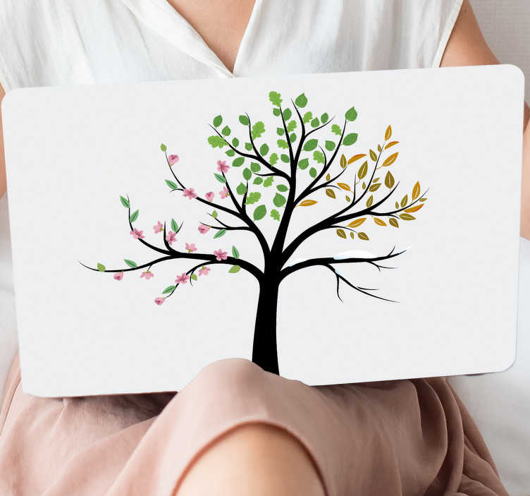 TenStickers. Seasons tree laptop skin. Decorate a laptop in this colorful season tree laptop sticker . Available in different sizes. Easy to apply and self adhesive.