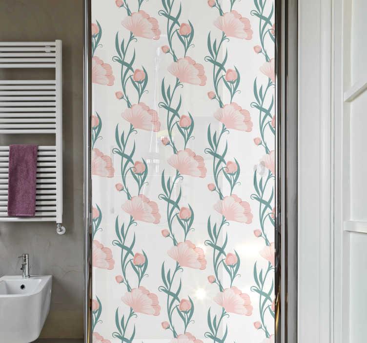 TenStickers. Naklejka na kabinę prysznicową Kwiaty na prysznic. Nie wiesz jak ciekawie udekorować łazienkę? Sprawdź nasze naklejki półprzezroczyste na drzwi prysznicowe z makami. Naklejki maki na szybę.