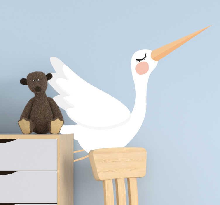 TenStickers. Muurstickers dieren vliegende ooievaar. Als je een nieuwe baby in huis hebt en de kinderkamer wilt versieren op een leuke manier is deze vliegende ooievaar muursticker de ideale decoratie.