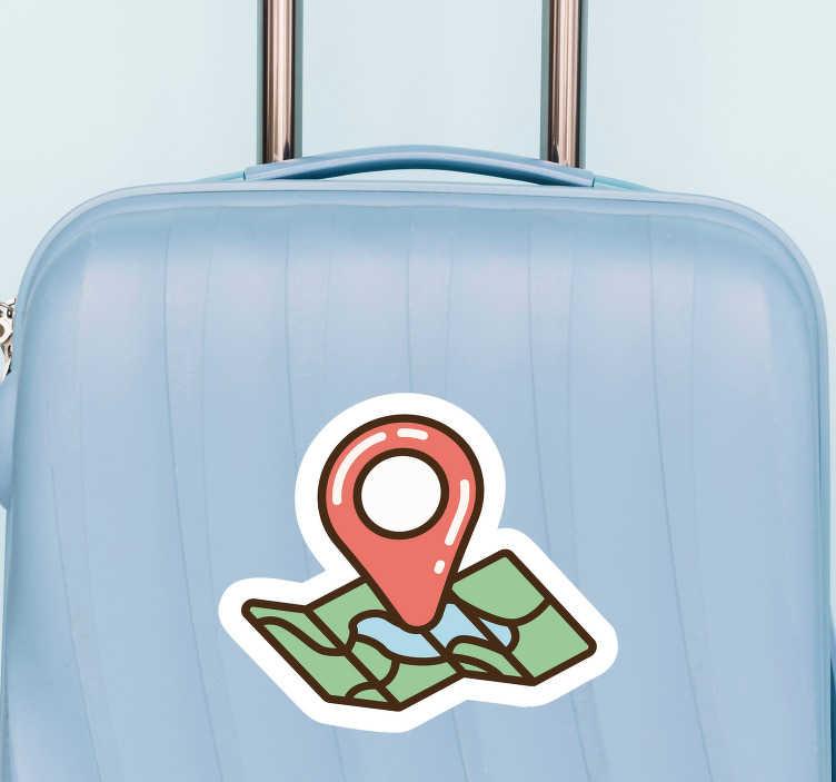TenStickers. Naklejka na walizkę Mapa z pinezką. Niezwykłe naklejki na walizki z rysunkiem mapy z pinezką. Spraw, że Twoja walizka będzie wyróżniać się z tłumu. Dostępna bezpłatna dostawa.
