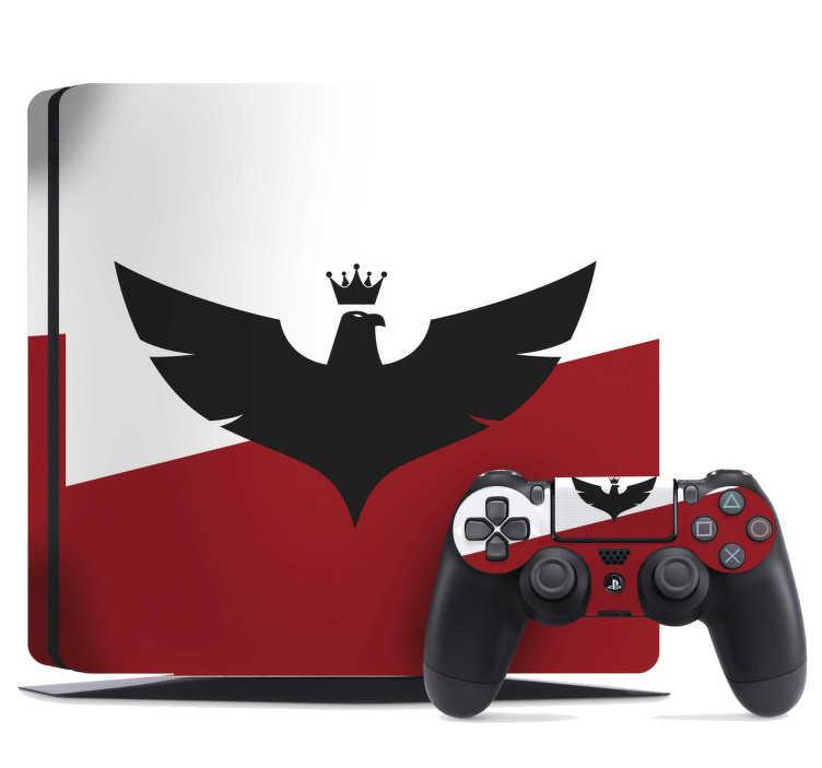 TenStickers. Naklejka na konsolę PS4 Orzeł w koronie. Ciekawe naklejki patriotyczne na PS4 to idealny pomysł na dopasowanie tego urządzenia do Twojego gustu. Sprawdź nasze naklejki PS4 z motywem orła.