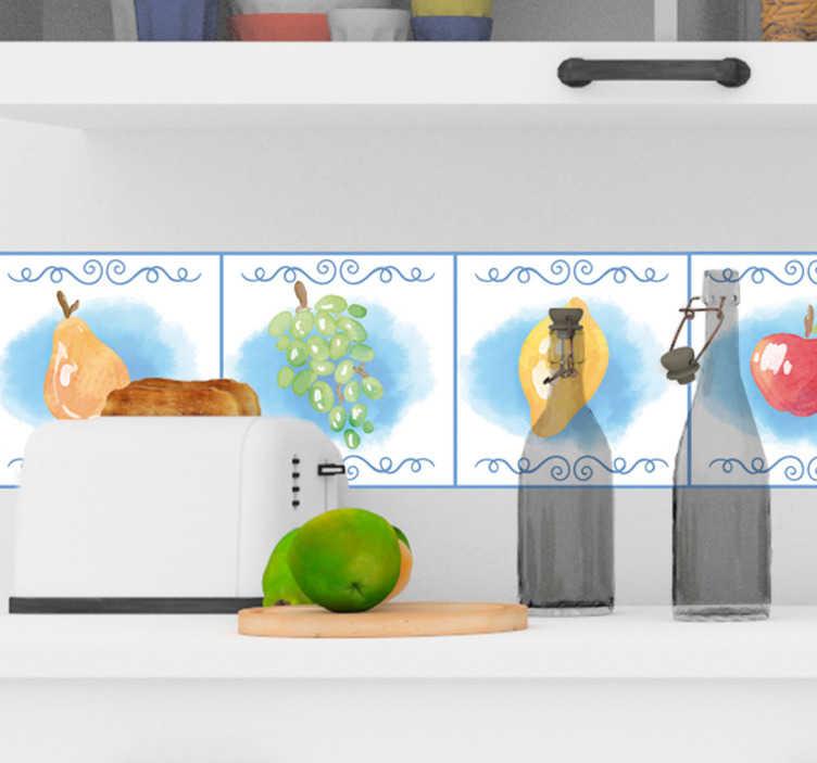 TenVinilo. Cenefa decorativa frutos para cocina. Cenefa adhesiva de frutas con azulejos perfecta para decorar tu cocina de forma bonita y fácil, sin grandes sacrificios económicos ¡Envío a domicilio!