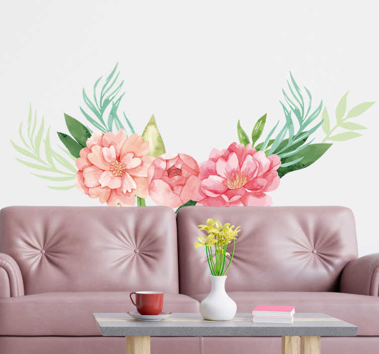 TenStickers. Peonies pastel colour flower wall decal. Decorative living room wall sticker with the design of a peonies flower plant in pastel colour . Choose it in the best suitable size.